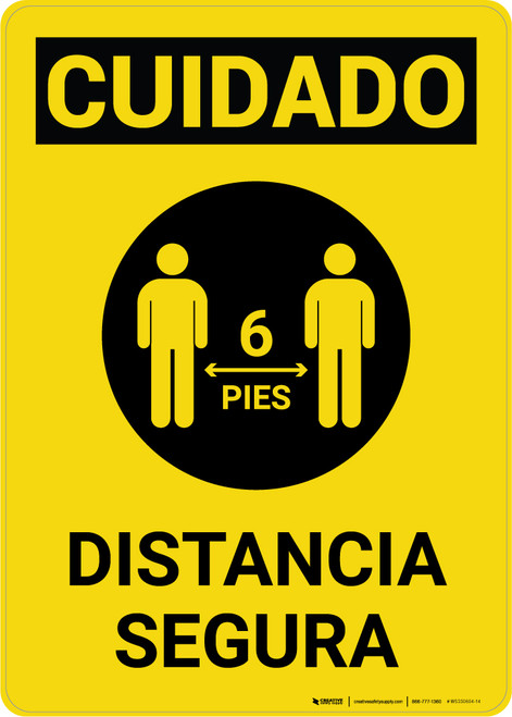 Caution: Safe Distance Spanish with Icon Portrait - Wall Sign