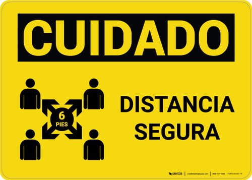 Caution: Safe Distance Spanish with Icon v2 Landscape - Wall Sign