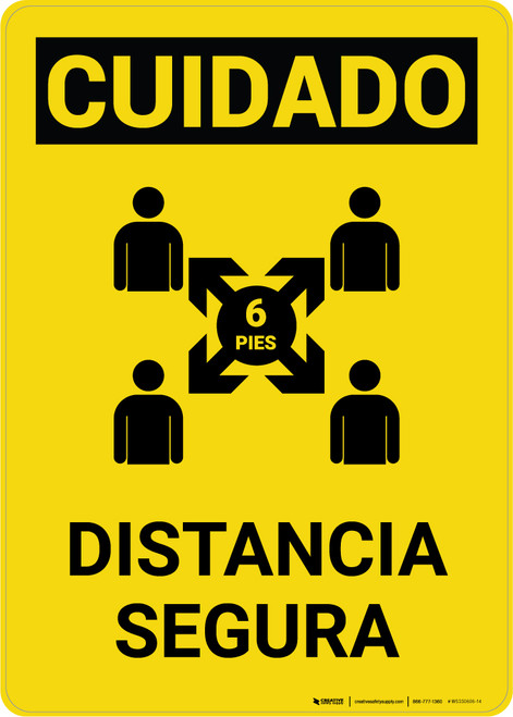 Caution: Safe Distance Spanish with Icon v2 Portrait - Wall Sign