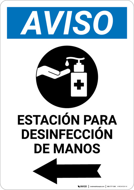 Notice: Hand Sanitizing Station Left Spanish with Icon Portrait - Wall Sign