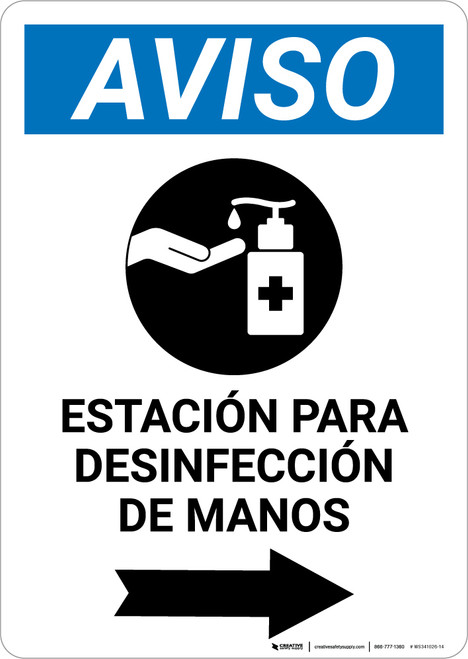 Notice: Hand Sanitizing Station Right Spanish with Icon Portrait - Wall Sign