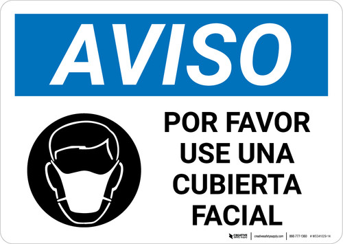 Notice: Please Wear A Face Covering Spanish with Icon Landscape - Wall Sign