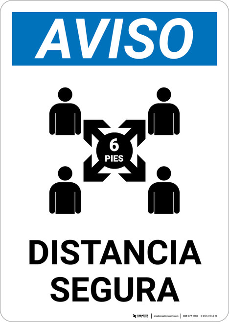 Notice: Safe Distance Spanish with Icon v2 Portrait - Wall Sign