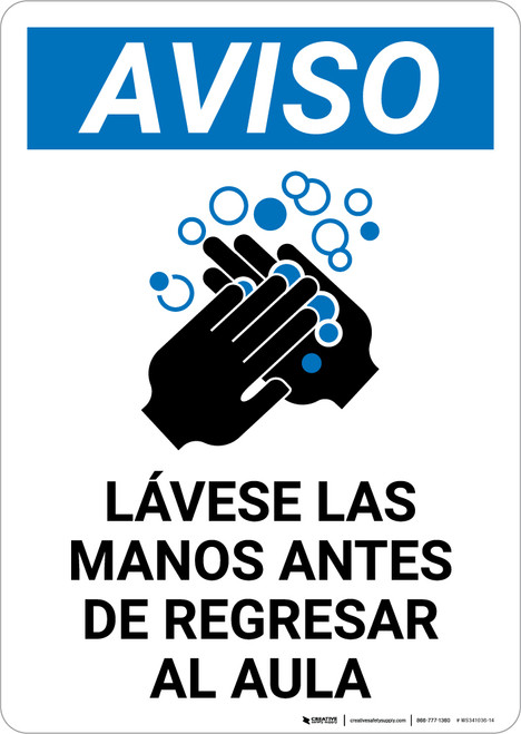 Notice: Wash Hands Before Returning To Class Spanish with Icon Portrait - Wall Sign