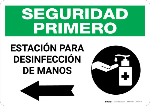 Safety First: Hand Sanitizing Station Left Spanish with Icon Landscape - Wall Sign