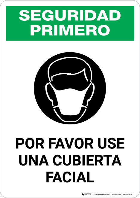 Safety First: Please Wear A Face Covering Spanish with Icon Portrait - Wall Sign
