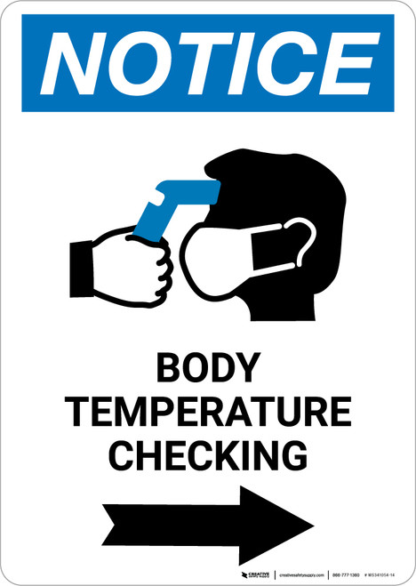 Notice: Body Temperature Checking Right with Icon Portrait - Wall Sign
