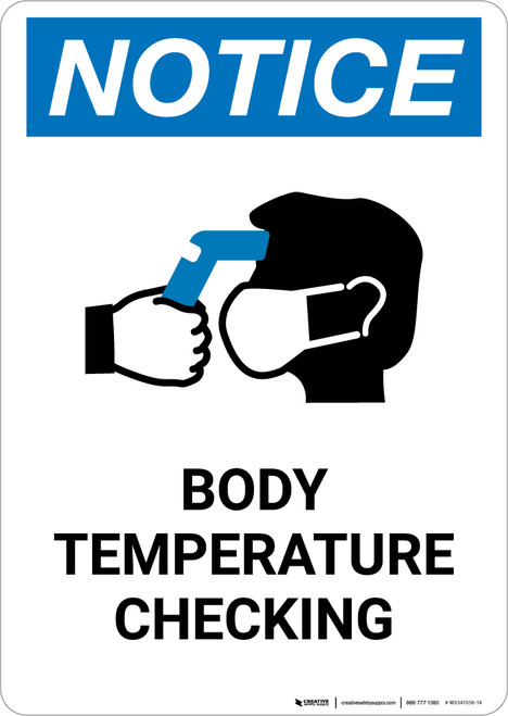 Notice: Body Temperature Checking with Icon Portrait - Wall Sign