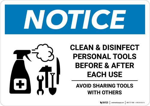 Notice: Clean Disinfect Personal Tools Avoid Sharing with Icon Landscape - Wall Sign