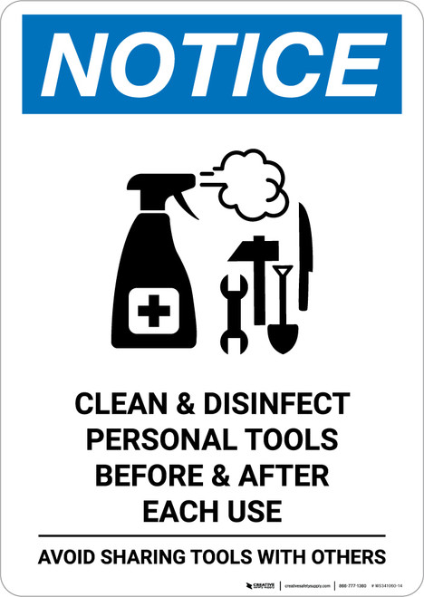 Notice: Clean Disinfect Personal Tools Avoid Sharing with Icon Portrait - Wall Sign
