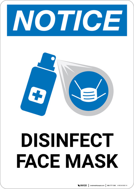 Notice: Disinfect Face Mask with Icon Portrait - Wall Sign