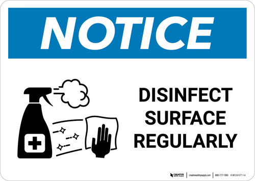 Notice: Disinfect Surface Regularly with Icon Landscape - Wall Sign