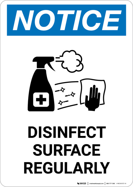 Notice: Disinfect Surface Regularly with Icon Portrait - Wall Sign