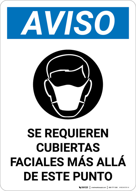 Notice: Face Coverings Required Beyond This Point Spanish with Icon Portrait - Wall Sign