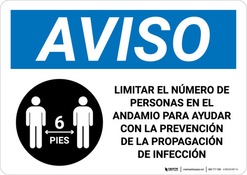 Notice: Limit Number Of Persons On Scaffold Spanish with Icon Landscape - Wall Sign