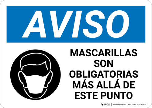 Notice: Masks Required Beyond This Point Spanish with Icon Landscape - Wall Sign