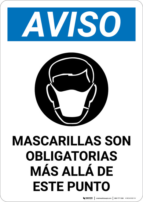 Notice: Masks Required Beyond This Point Spanish with Icon Portrait - Wall Sign