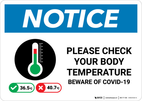 Notice: Please Check Your Body Temperature Beware of COVID with Icon Landscape - Wall Sign