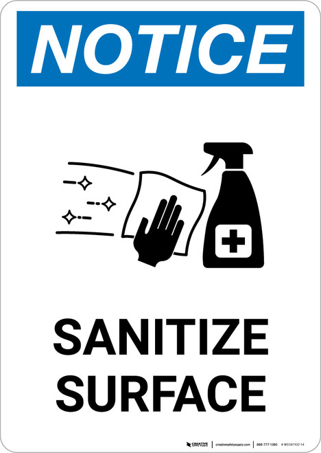Notice: Sanitize Surface with Icon Portrait - Wall Sign