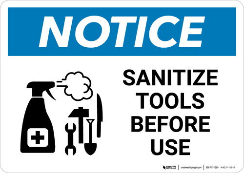 Notice: Sanitize Tools Before Use with Icon Landscape - Wall Sign