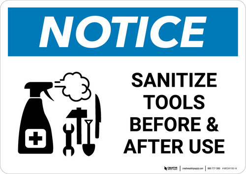 Notice: Sanitize Tools Before and After Use with Icon Landscape - Wall Sign