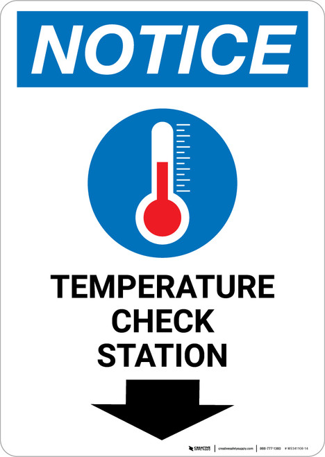 Notice: Temperature Check Station Down with Icon Portrait - Wall Sign