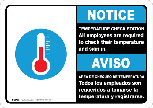 Notice: Temperature Check Station Employees Required Bilingual with Icon Landscape - Wall Sign