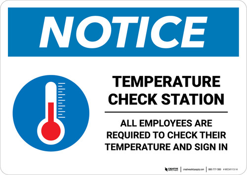 Notice: Temperature Check Station Employees Required with Icon Landscape - Wall Sign