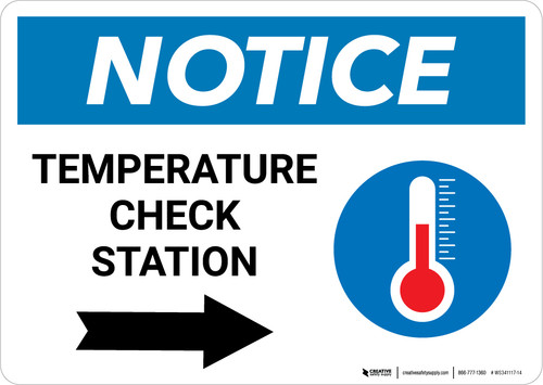 Notice: Temperature Check Station Right with Icon Landscape - Wall Sign