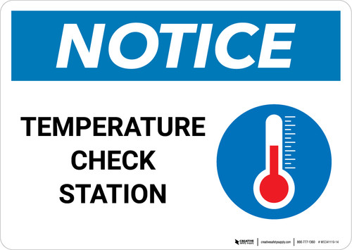 Notice: Temperature Check Station with Icon Landscape - Wall Sign