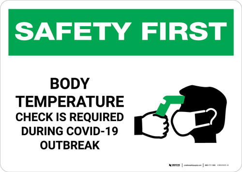 Safety First: Body Temperature Check Required During COVID-19 Outbreak with Icon Landscape - Wall Sign