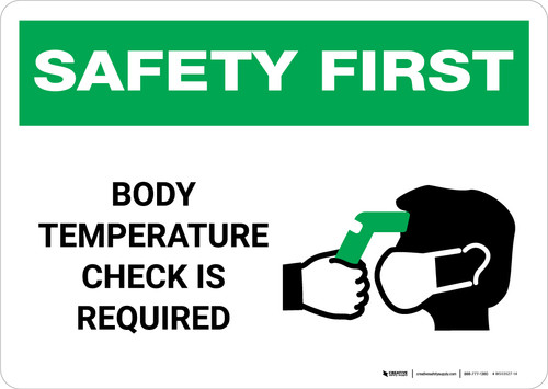 Safety First: Body Temperature Check Required with Icon Landscape - Wall Sign