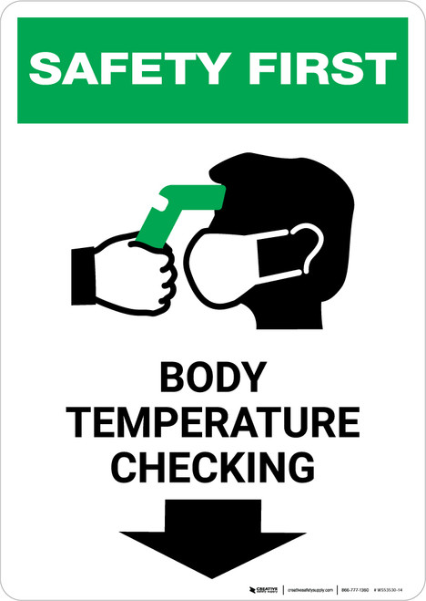 Safety First: Body Temperature Checking Down with Icon Portrait - Wall Sign