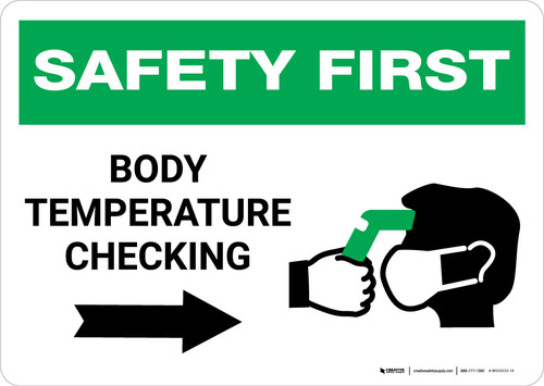 Safety First: Body Temperature Checking Right with Icon Landscape - Wall Sign