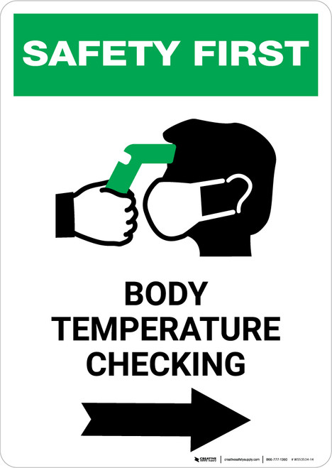 Safety First: Body Temperature Checking Right with Icon Portrait - Wall Sign