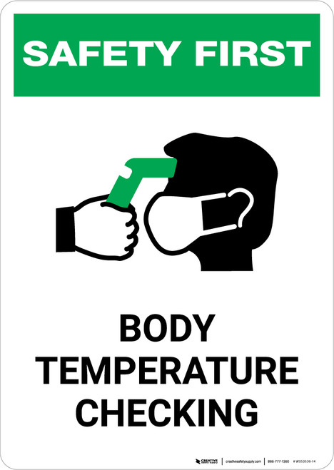 Safety First: Body Temperature Checking with Icon Portrait - Wall Sign