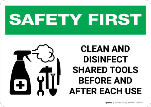 Safety First: Clean And Disinfect Shared Tools with Icon Landscape - Wall Sign