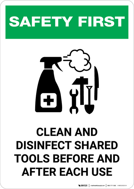 Safety First: Clean And Disinfect Shared Tools with Icon Portrait - Wall Sign