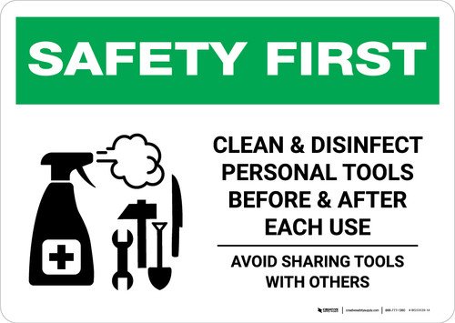 Safety First: Clean Disinfect Personal Tools Avoid Sharing with Icon Landscape - Wall Sign