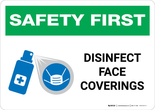 Safety First: Disinfect Face Coverings with Icon Landscape - Wall Sign