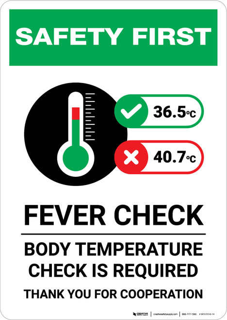 Safety First: Fever Check Body Temperature Check Required with Icon Portrait - Wall Sign