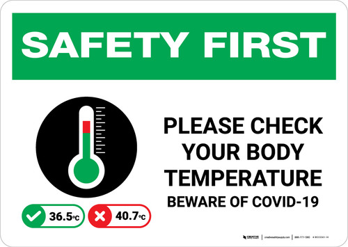 Safety First: Please Check Your Body Temperature Beware of COVID with Icon Landscape - Wall Sign
