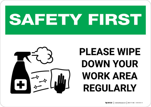 Safety First: Please Wipe Down Work Area with Icon Landscape - Wall Sign