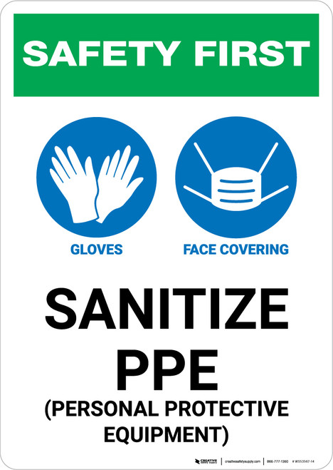Safety First: Sanitize PPE with Icons Portrait - Wall Sign