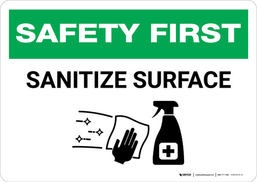 Safety First: Sanitize Surface with Icon Landscape - Wall Sign