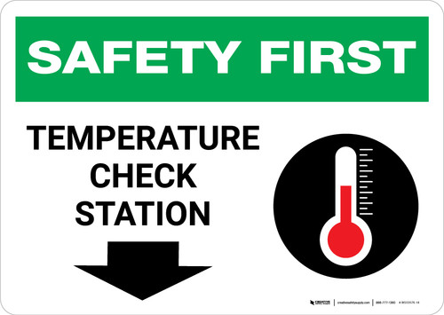 Safety First: Temperature Check Station Down with Icon Landscape - Wall Sign