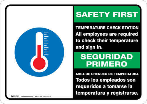 Safety First: Temperature Check Station Employees Required Bilingual with Icon Landscape - Wall Sign