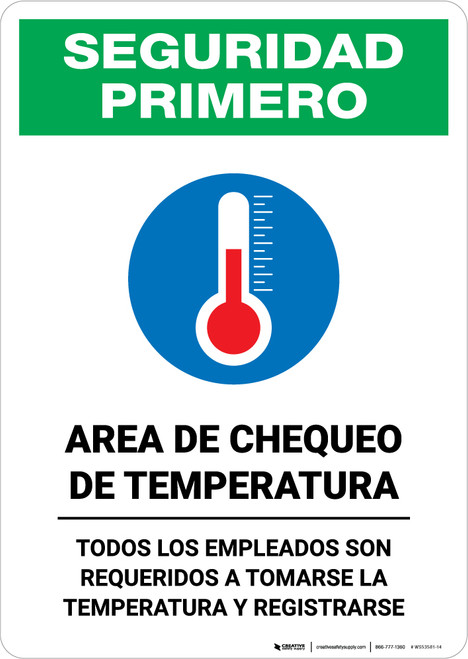 Safety First: Temperature Check Station Employees Required Spanish with Icon Portrait - Wall Sign