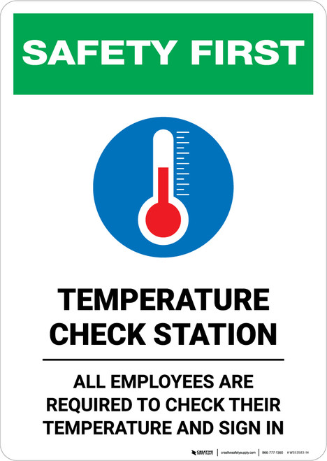 Safety First: Temperature Check Station Employees Required with Icon Portrait - Wall Sign