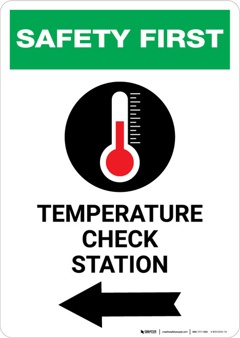 Safety First: Temperature Check Station Left with Icon Portrait - Wall Sign
